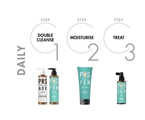 PHS HAIRSCIENCE FEM hair product recommendations for daily regime