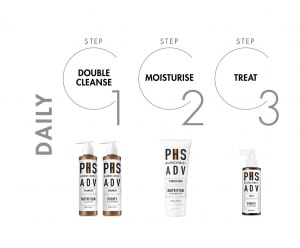 PHS HAIRSCIENCE ADV hair product recommendations for daily regime