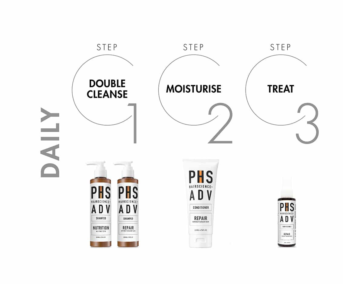 PHS HAIRSCIENCE®️ Severely Damaged Hair Daily Regime